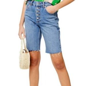 TOPSHOP | Button Fly Cycle Denim Jean Shorts